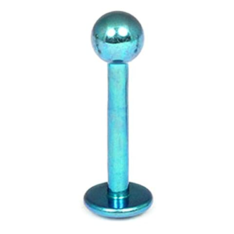 Titanium Labret. 1.2mm gauge, 7mm length with 3mm ball in Turquoise. Tragus Bars, Madonna or Lip Piercing.