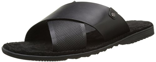 Base London Hector, Sandales Bout Ouvert Homme Noir (Black Waxy)