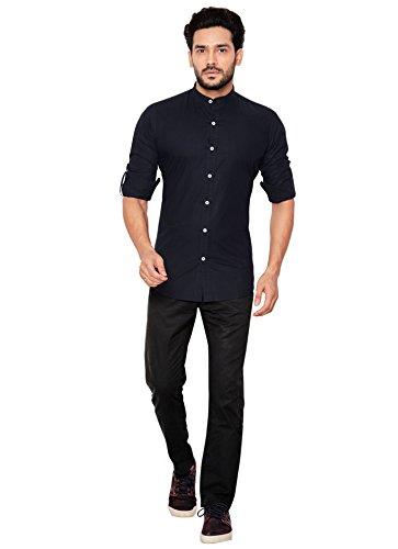 GlobalRang Casual Shirt For Men Slim Fit (S, Blue)