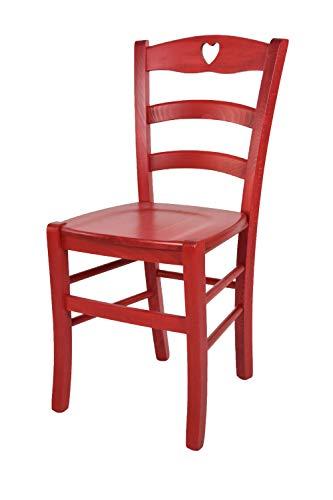 Tommychairs Klassischer Chefsessel Herz 38 für Küche, Bar und Esszimmer mit stabilem Gestell aus Holz Farbe Anilina Rot und Sitzfläche aus Massivholz -