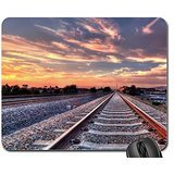 straight train tracks entering a city hdr Mouse Pad, Mousepad