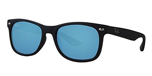 Ray-Ban Mattschwarz Blau Spiegel 48mm NEW WAYFARER JUNIOR-Platz Sonnenbrillen