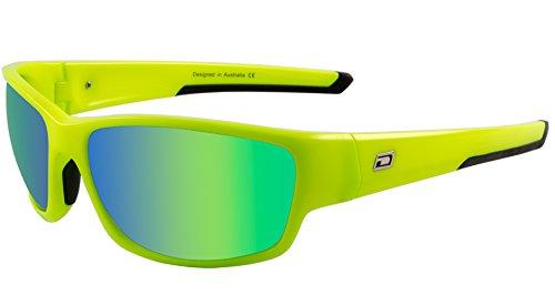 Dirty Dog Kette Wrap Sport Radfahren Joggen Sonnenbrille in flurouscent grün mit grün Fusion Objektiv
