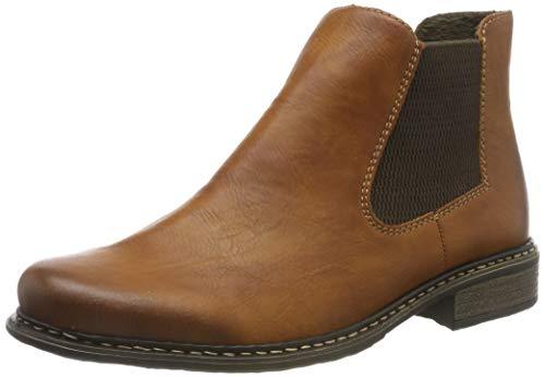 Rieker Damen Stiefeletten Z4994, Frauen Chelsea Boots, halbstiefel Bootie Schlupfstiefel gefüttert Winterstiefeletten,Cayenne/Brown,39 EU / 6 UK