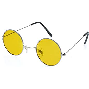Dervin Gandhi Round Shape Retro Silver-Yellow Night Vision UV Protection Sunglasses Shades/Frame For Men & Women (Yellow Lens)