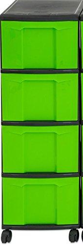 Unbekannt Iris Schubladenbox mit Rollen, Kunststoff, grün/Schwarz (4 große) - Schubladenschrank...