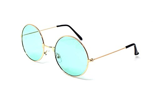 Ultra Gold Frame mit Grünen Linsen Erwachsene Retro Runde Sonnenbrillen Stil John Lennon Vintage Look Qualität UV400 Elton Brillen Männer Frauen Klassische Unisex-Brillen