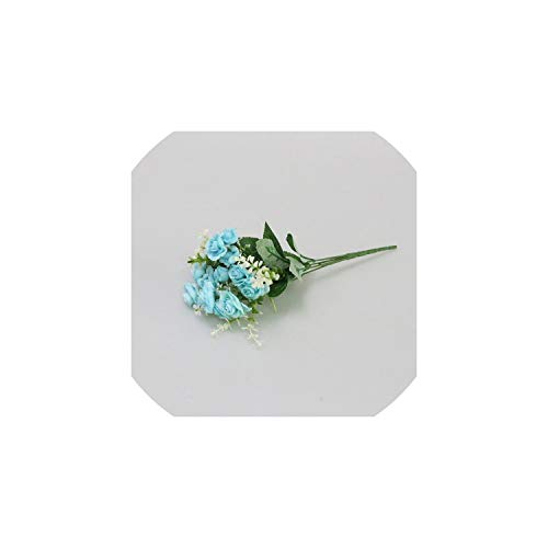Eternity Bliss Künstliche Blumen 15 Kopf künstliche Rosen-Silk Blumen-Blumenstrauß für Hochzeit Zuhause-Party-Raum-Dekoration, blau - Daisy Bouquet Wand