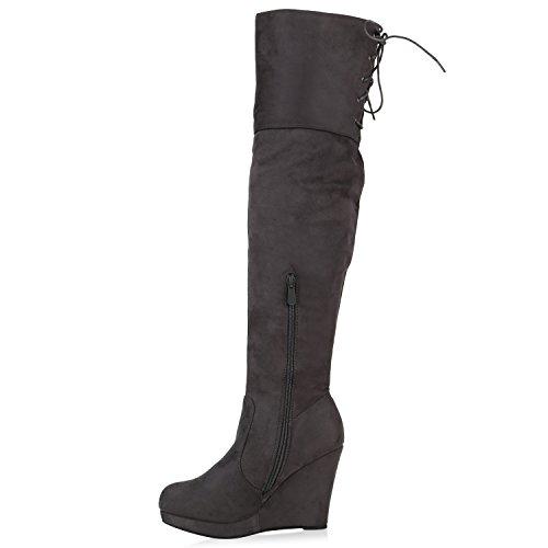 Gefütterte Damen Overknees Plateau Wedges Stiefel Keil Absatz Grau