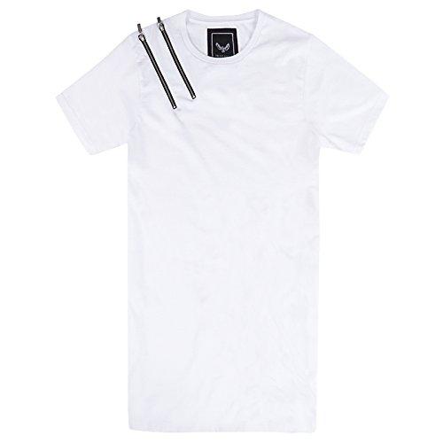 Brave Soul Williams Herren Langleine T Shirt Neu Kurzärmelig Länger Passform Reißverschluss T-shirt Top Weiß