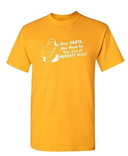 Wie viel Liste der frechen Mädchen Humor Graphic Neuheit sarkastisch Lustiges T-Shirt, Medium, Gold