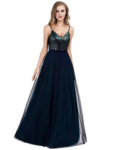 Ever-Pretty Sexy A-línea Vestido de Noche Lentejuela Cuello en V para Mujer Azul Marino/Verde Oscuro 46