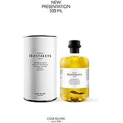 1 x 500ML FINCA HOSTALETS condimento a base de Aceite de Oliva Virgen Extra Arbequina a la Trufa Blanca. Botella de Cristal de 500 ml (NUEVO FORMATO).