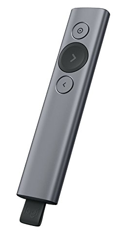 Logitech Spotlight Bluetooth/RF Grey Wireless Presenter - Wireless Presenters (Bluetooth/RF, 30 m, Lithium Polymer (LiPo), USB, Grey, 28.1 mm)