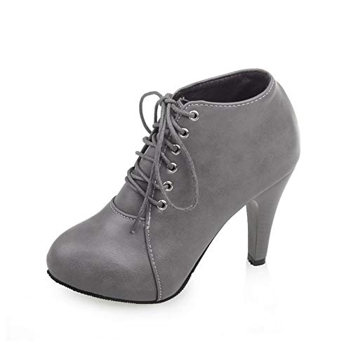 Boots Women, Ankle Boots Women Plus Velvet To Keep Warm Stiletto Heel Round Toe Front Tie Boots-3 Farben),Gray,41EU
