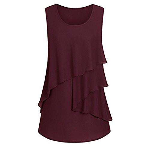 OSYARD Damen Plus Size Rüschen Saum gerüscht ärmellos Tank Tops Pullover T-Shirt Bluse(EU 46 / M, Wein Rot) - Rot Gerippt Pullover