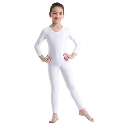 Weiße Basic Kostüm Mädchen - Agoky Unisex Mädchen Jungen Basic Ganzkörperanzug Einteiler Schlafanzug Jumpsuit Kostüm Ballettanzug Overall Langarm Body Weiß 128-140/8-10 Jahre