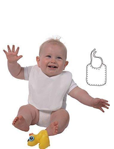 ShirtInStyle Baby Latz ideal zum bemalen mit Textilfarbe für Ihre Babyparty, Farbe weiss, 1 Stück