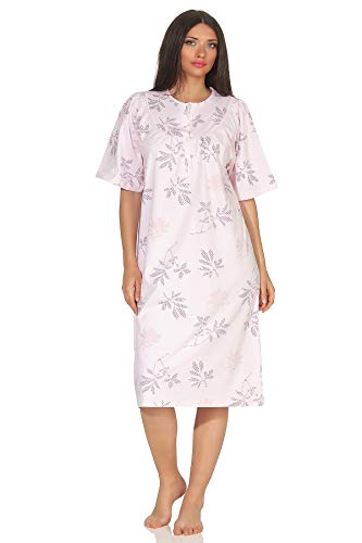 Jeanette by Normann Frauliches Damen Nachthemd, halbarm, 105 cm Länge, florales Muster - 63542, Größe2:52/54, Farbe:rosa