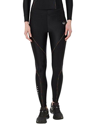 Ultrasport rainbow pantaloni compressivi da corsa/pantaloni sportivi lunghi, donna, nero, m