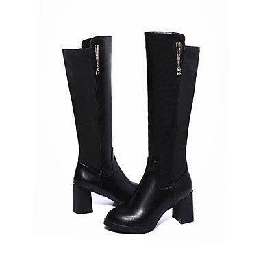 Rtry Femmes Chaussures Pu Automne Hiver Confort Bottes À Talons Bas Genou Bottes Pour Casual Noir Noir Noi6.5-7 / Eu37 / Uk4 5-5 / Cn37 Us8 / Eu39 / Uk6 / Cn39