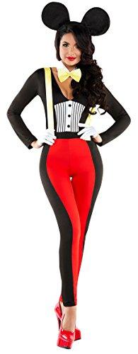 New Women's Red & Black Minnie Mouse Fancy Dress Costume Costume Set Fancy Dress Halloween Hen Night Disney Costumes Party Wear One Size UK 8-10 EU 36-38