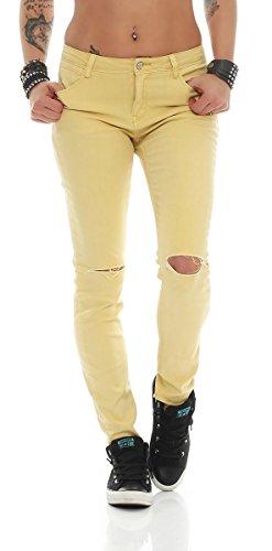 11021 Fashion4Young Sexy Damen Jeans Röhrenhose pants Hose Damenjeans Skinny (L=40, gelb)