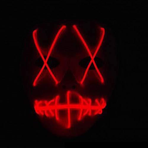 Starall Mode Halloween Cosplay Geist Maske Schlitz Mund Leuchten Leuchtende EL Draht Nette Masken Für Kostüm Party (rot)
