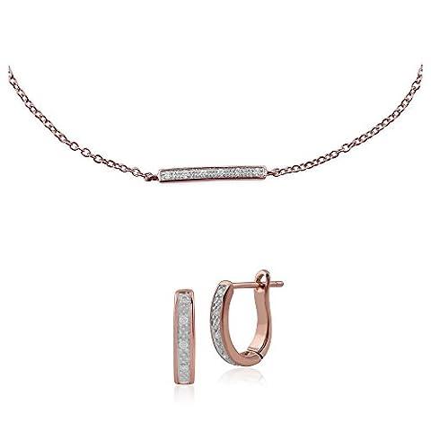 Gemondo 9ct Rose Gold Diamant Hoop Ohrring und Nasenstecker Diamant Armband Set (0,03 Ct Diamant-set)