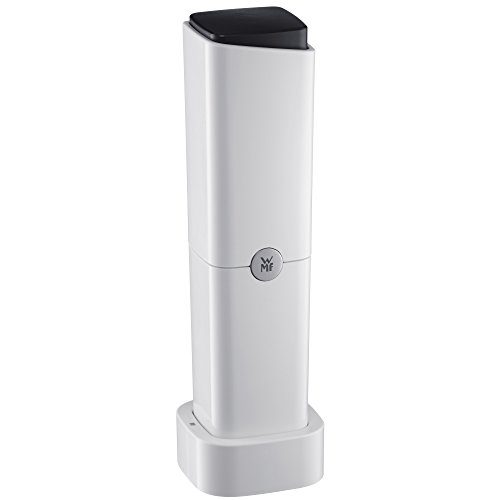 WMF Ceramill Charge Elektrische Salz und Pfeffermühle, unbefüllt mit Ladestation, Kunststoff, Keramikmahlwerk, schwarz/weiß