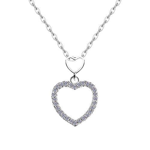 EGO by PHETRA MADE IN ITALY Halskette aus 925er Silber mit Herzanhänger mit Zirkonias am Perimeter für Damen Geschenk