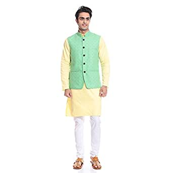 Tag 7 Men's Cotton Kurta Pyjama With Jacket Set (KPJ133_Yellow_44)