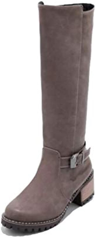 HAOLIEQUAN donna High Heels Heels Heels stivali Zipper Round Toe scarpe Fashion Warm Knee High stivali donna Vintage  Punk Footwear... | Facile da usare  | Uomini/Donna Scarpa  121e4f