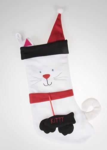 Morbido peluche panno appeso calza di natale | per bambini, ragazzi e adulti | bianco e nero kitty cat holiday decor theme | ideale per piccoli regali, calza della befana, & candy | misure, altezza 43,2cm.