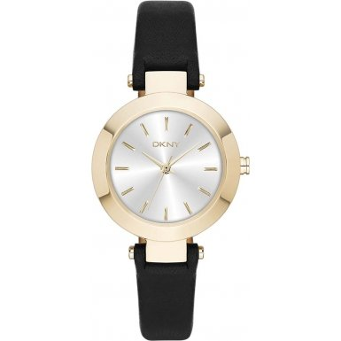 DKNY Women's 28mm Black Leather Band Steel Case Quartz Silver-Tone Dial Analog Watch ny2413