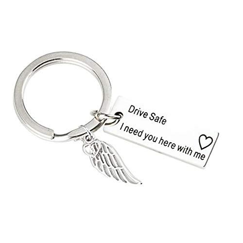 AmDxD Edelstahl Schlüsselanhänger Buchstaben Drive Safe I Need You here mit me Dog Tag mit Flügel Anhänger Silber Schlüsselbund Handtaschenanhänger -