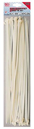 BGS 80881 | Kabelbinder-Sortiment | weiß | 8,0 x 600 mm | 20-tlg.