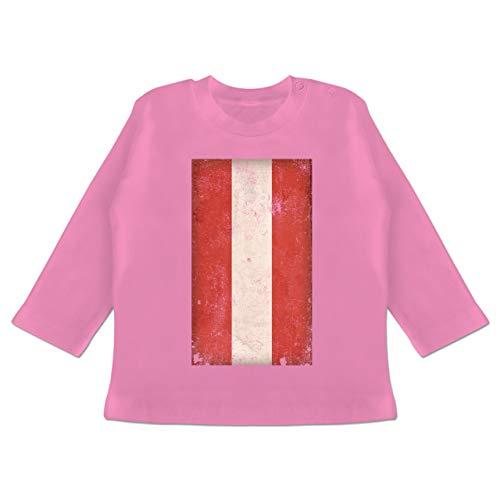 Städte & Länder Baby - Österreich Flagge Vintage - 18-24 Monate - Pink - BZ11 - Baby T-Shirt Langarm