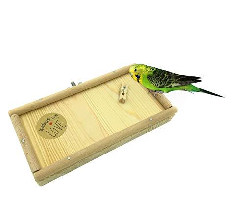 Vitezza Vogel-Sitzbrett M | Umrandung aus Buchenholz | Befestigungsmaterial aus Edelstahl | Vogel-Spielplatz | Vogel-Spielzeug | Vogelzubehör | Vogelkäfig Zubehör Wellensittiche | Käfigzubehör -