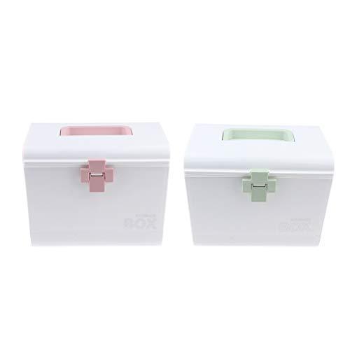 Fenteer 2er Set Tragbare Medizin-Box Medizinbox Erste Hilfe Kasten Aufbewahrungsbox mit Griff First Aid Box 27 x 20 x 23 cm