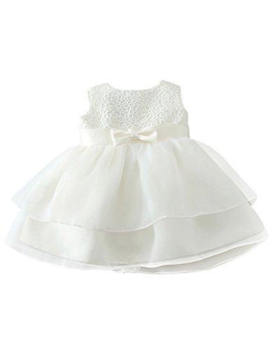 Happy Cherry Baby Mädchen Kleid Polyester Ärmellos Brautkleid Geblümt Ballkleid Hochzeit Festzug...