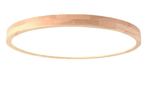 SJUN Deckenleuchte Holz Lampe Rund Holzlampe Dimmbar Mit Fernbedienung Eiche Deckenlampe Schlafzimmer Vintage Leuchte Decke Licht Retro Mit Led Rustikal Zimmerlampe Küchenleuchte (Color : 70cm 64w)