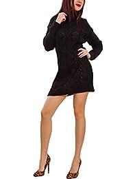 Toocool - Maglione Donna Lungo Oversize trecce Tricot Dolcevita Mini Abito  Caldo VB-5026 c5fe1b354cc