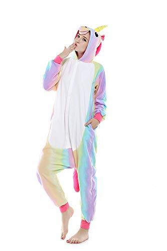 Licorne Adulte Flanelle Kigurumi Pyjama Combinaison Animaux Unicorn (XL fit for Height 175-185CM...