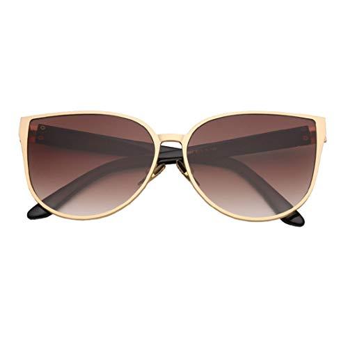 Lindan shangmao Sonnenbrillen für Frauen Metallrahmen umrandeten Sonnenbrillen übergroße modische Dame Sonnenbrillen für das Fahren (Farbe : C6 Gold Frame Tea Slice)