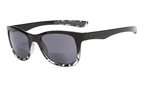 Eyekepper Klassisch 80 Jahrgang Bifokale Sonnenbrille Leser +2.00 Stärke die Sonnenbrille liest (Schwarz-Transparent Schildkröte)