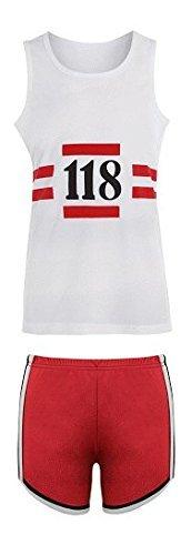 118 118 Lustig 1980er Jahre Laufen Marathon Retro Kostüm Weste & Shorts (Lustig 1980er Jahre Kostüme)
