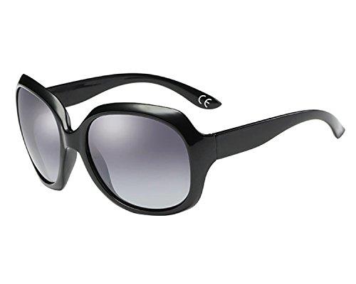 BVAGSS Mode Großer Rahmen Damen Polarisiert Sonnenbrille 100% UV-Schutz (Black Frame With Gray Lens)