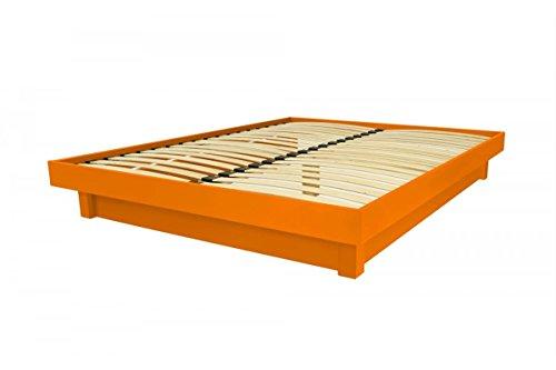 ABC MEUBLES Bett Plattform in Massivholz Billig - Plat - Orange, 140x200 (Plattform-bett-schlafzimmer)