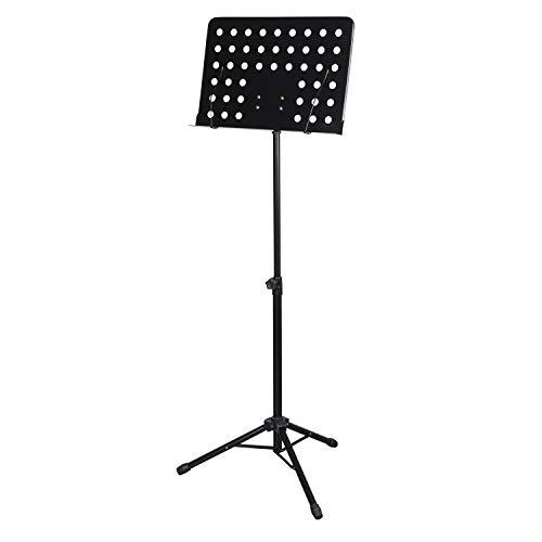 CASCHA Orchesterpult aus Metall, Notenpult, Notenhalter, Sheet Music Stand, zusammenklappbar, höhenverstellbar, schwarz
